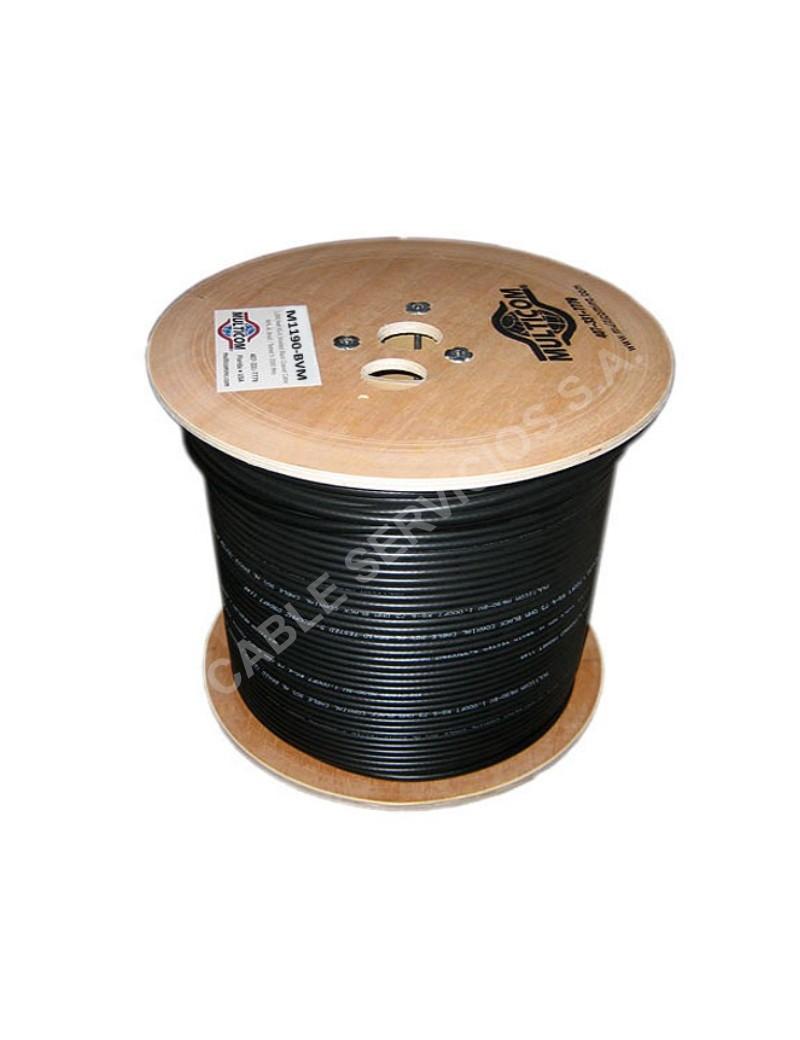 Cable coaxial RG-11 al 90% con mensajero negro